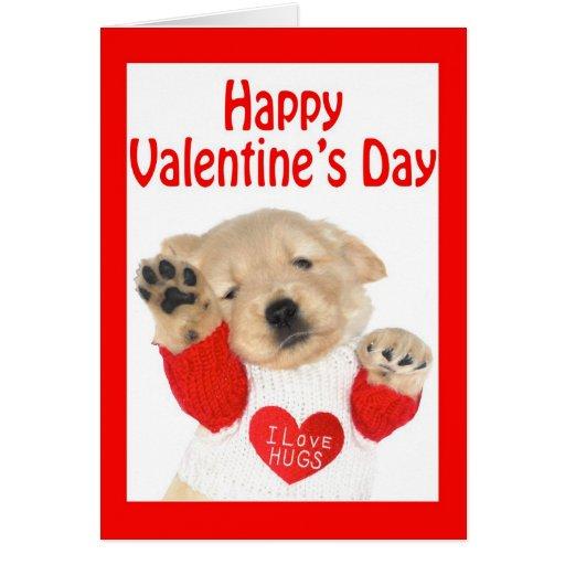 Valentine's Day Golden Retriever Puppy Card