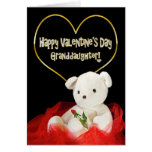 Valentine's Day - GRANDAUGHTER Teddy Bear/Red Rose Greeting Card