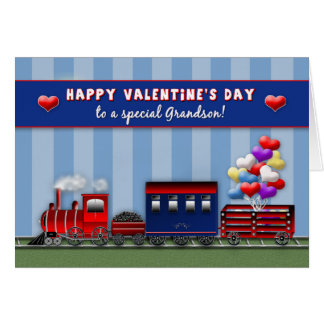 VALENTINE'S DAY - Grandson - Train- Heart Balloons Greeting Card