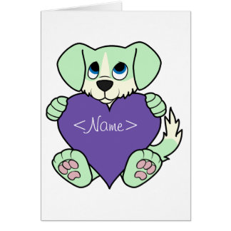 Valentine's Day Green Dog - Blaze & Purple Heart Greeting Card