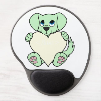 Valentine's Day Green Dog with Cream Heart Gel Mouse Pad