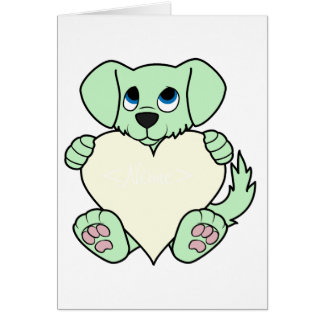 Valentine's Day Green Dog with Cream Heart Greeting Card