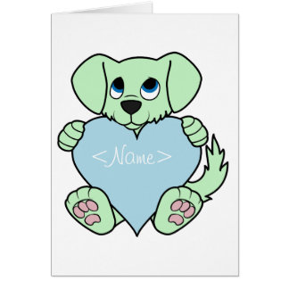 Valentine's Day Green Dog with Light Blue Heart Greeting Card