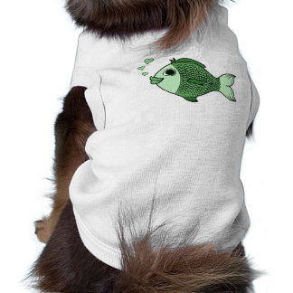 Valentine's Day Green Fish with Heart Bubbles Sleeveless Dog Shirt