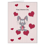 Valentine's Day Grey Bunny Rabbit Card