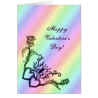Valentine's Day  -  heart and butterfly on Rainbow Card