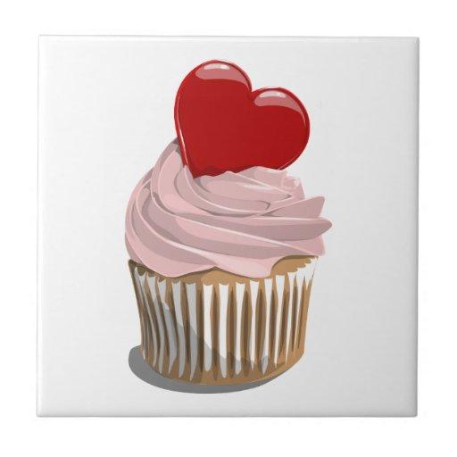 Valentine's Day heart cupcake tile