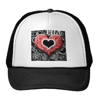 valentines day heart mesh hats