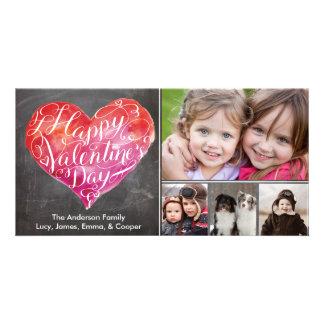 Valentine's Day Heart Script Chalkboard Photo Card Template
