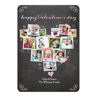 Valentine's Day Heart Shaped Snapshots Collage Card
