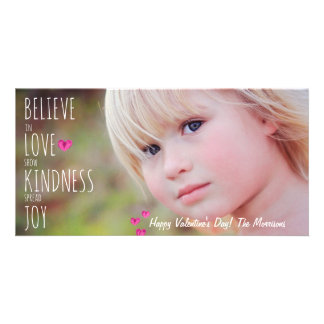 Valentine's Day Hearts Love Kindness Joy Photo Personalised Photo Card