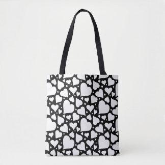 Valentine's Day Hearts Pattern. Custom BG Color! Tote Bag