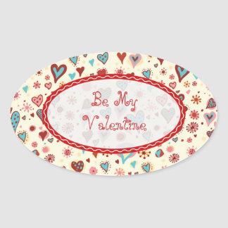 Valentines Day Hearts Pattern-Customizable Text Oval Sticker
