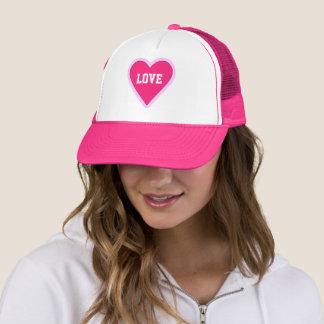 Valentines day hot pink heart trucker hat