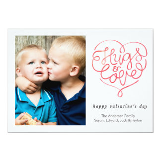 Valentine's Day Hug and Love Heart 13 Cm X 18 Cm Invitation Card