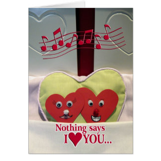 Valentine's Day Humor - Two Hearts in Bed Greeting Card