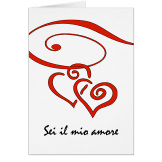 Valentine's Day in Italian, Hearts Swirl Together Card