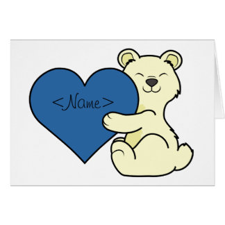 Valentine's Day Kermode Bear with Blue Heart Greeting Card