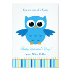 Valentines Day Kid Owl Blue Greeting Card