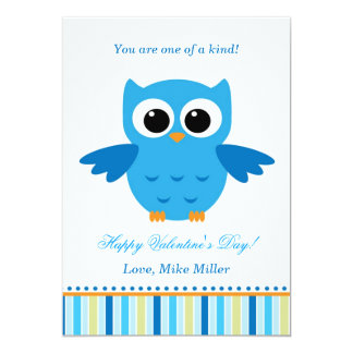 Valentines Day Kid Owl Blue Greeting Card 13 Cm X 18 Cm Invitation Card