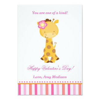Valentines Day Kids Giraffe Pink Girl Card