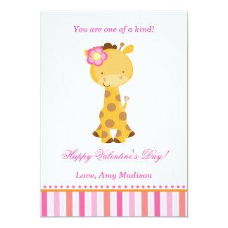 Valentines Day Kids Giraffe Pink Girl Card 13 Cm X 18 Cm Invitation Card