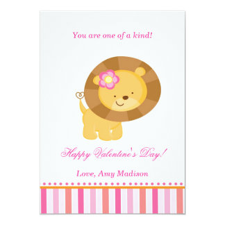 Valentines Day Kids Lion Pink Greeting Card 13 Cm X 18 Cm Invitation Card