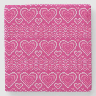 Valentine's Day Knitted Pattern 2 Stone Coaster