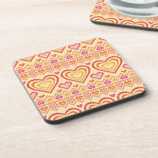 Valentine's Day Knitted Pattern Beverage Coasters