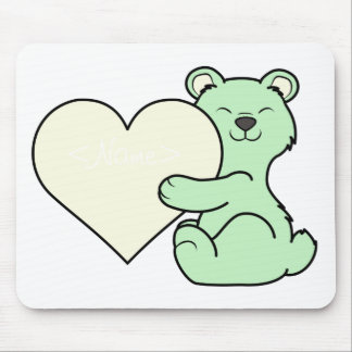 Valentine's Day Light Green Bear with Cream Heart Mouse Pad