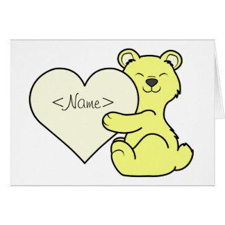 Valentine's Day Light Yellow Bear with Cream Heart Greeting Card