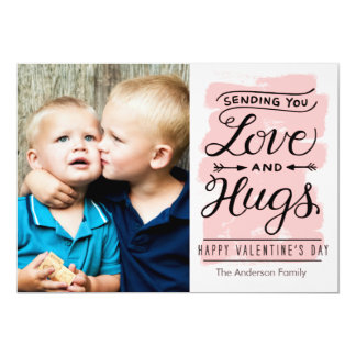 Valentine's Day Love and Hugs 13 Cm X 18 Cm Invitation Card