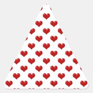 Valentine's Day Love Cute Red Hearts Pattern Triangle Sticker