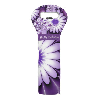 Valentines Day Love Flowers & Hearts Fractal Wine Bag