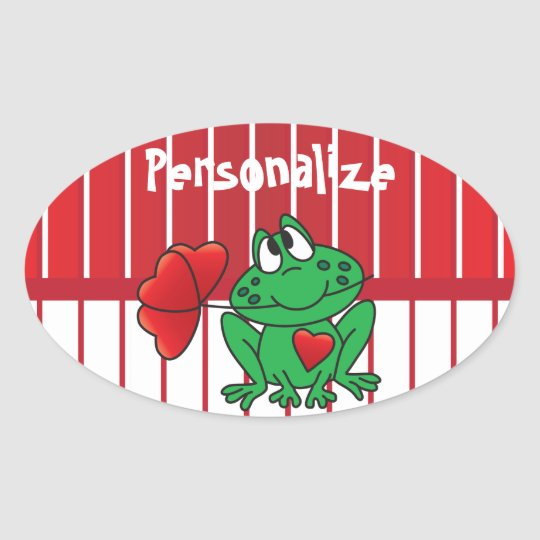 Valentines Day Love Frog Oval Sticker