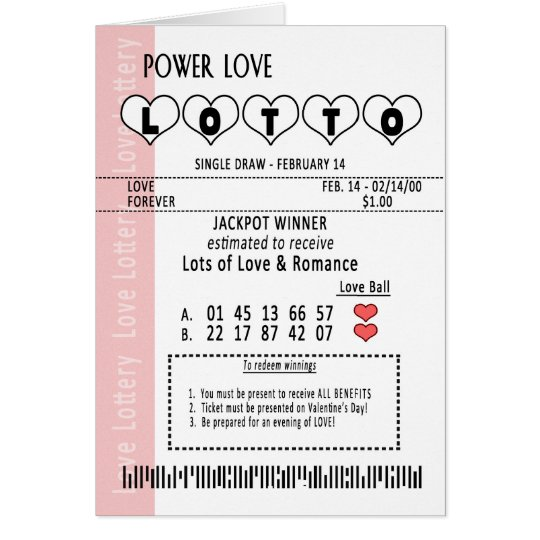 VALENTINE'S DAY LOVE POWER LOTTERY TICKET GREETING CARD