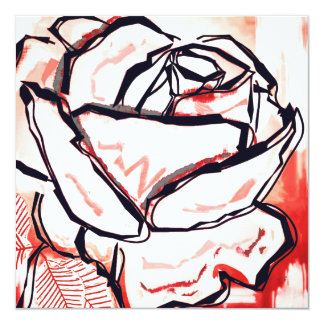 Valentines Day Love You Card Rose Pop Art Painting 13 Cm X 13 Cm Square Invitation Card