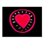 Valentine's Day Modern Pink Heart - Black Postcard