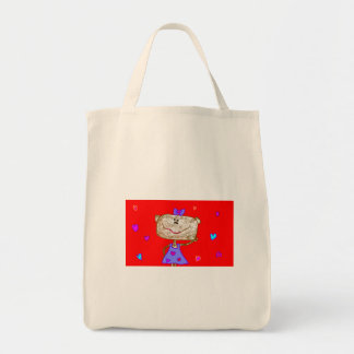 Valentine's Day Monkey Tote Grocery Tote Bag