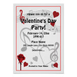 Valentine's Day Music Hearts Party Poster