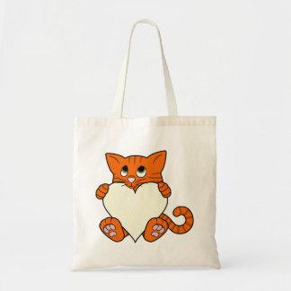 Valentine's Day Orange Cat with Cream Heart Budget Tote Bag