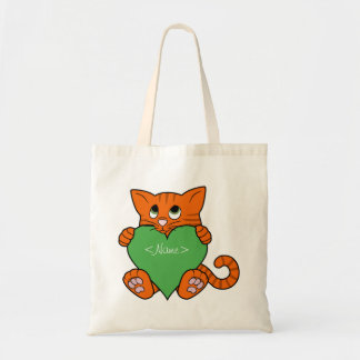 Valentine's Day Orange Cat with Green Heart Budget Tote Bag