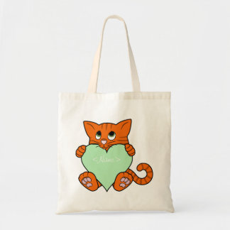 Valentine's Day Orange Cat with Light Green Heart Budget Tote Bag