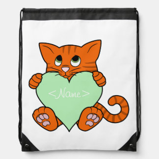 Valentine's Day Orange Cat with Light Green Heart Drawstring Backpack