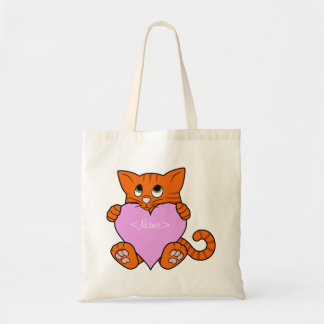 Valentine's Day Orange Cat with Light Pink Heart Budget Tote Bag