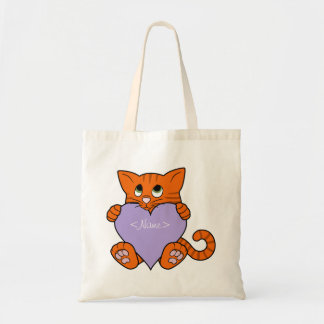 Valentine's Day Orange Cat with Light Purple Heart Budget Tote Bag