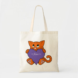 Valentine's Day Orange Cat with Purple Heart Budget Tote Bag