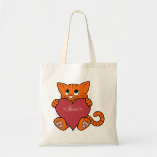 Valentine's Day Orange Cat with Red Heart Budget Tote Bag