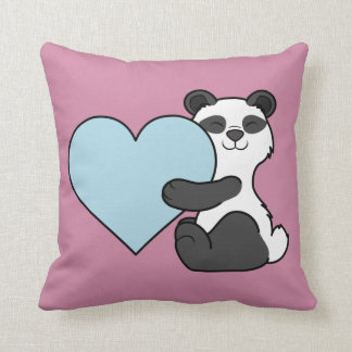 Valentine's Day Panda Bear with Light Blue Heart Cushion