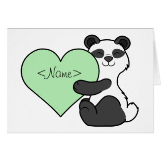 Valentine's Day Panda Bear with Light Green Heart Greeting Card